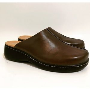 Rockport Brown Leather Slip On Mule Clog Sz. 9.5W